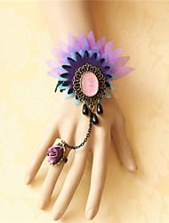 Vintage Black Lace Diamond Rose Bracelet with Ring Set