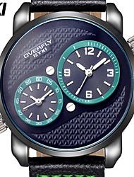 EYKI Dual Time Zone Display Genuine Leather Men Watches Quartz Watch Waterproof Sport Wristwatch