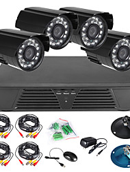 4CH CCTV Full D1 H.264 DVR Motion Detection Security 600TVL Waterproof Night Vision Cameras