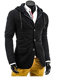Men's Long Sleeve Jacket , Cotton Blend Casual / Work / Formal / Sport / Plus Sizes Pure