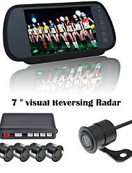 renepai® 7 pouces appareil d'affichage des capteurs de stationnement lcd vidéo voiture 4 de la sonde inverser radar sauvegarde kit alarme