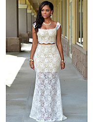 Women's Off White Lace Nude Maxi Skirt Set