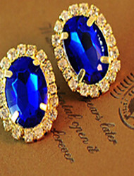 Stud Earrings Gemstone Cubic Zirconia Rhinestone Gold Plated Fashion Gold Green Royal Blue Jewelry 2pcs