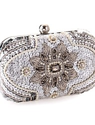 Women Bags All Seasons Polyester Metal Evening Bag with Sequin Crystal/ Rhinestone for Wedding Screen Color