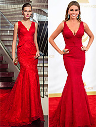 Military Ball / Formal Evening Dress - Ruby Plus Sizes / Petite Trumpet/Mermaid V-neck Sweep/Brush Train Lace