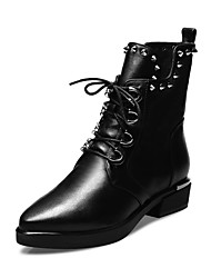 Women's Shoes Leather Low Heel Fashion Boots / Pointed Toe Boots Outdoor / Office & Career / Casual Black / Gray