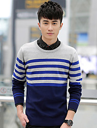 Qiu dong men, han edition men's clothing of thin striped turtleneck sweater knit wool coat boom