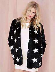 Women's Fashion Faux Fur Star Jacket Long Sleeve Coat
