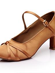 Customizable Women's Girl's Dance Shoes Latin / Salsa / Samba /Ballroom Satin Customized Heel Brown