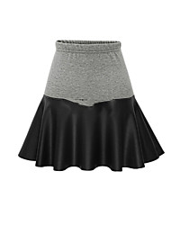 Women's Patchwork Black / Gray Skirts , Cute / Plus Sizes Above Knee