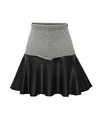 Jupes Aux femmes Au dessus du genou Mignon / Grandes Tailles Coton Micro-élastique