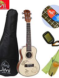 Jimi®Red Fir Wood Color Beach Concert Ukulele+Backage+Strap+Tuner+Pick Suit