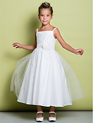 A-line Tea-length Flower Girl Dress - Tulle Sleeveless Spaghetti Straps with Flower(s) / Ruching