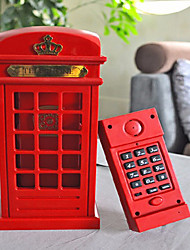 2 in1 Antique Red Color Telephone Booth Wired Phone Set LED Table Lamp