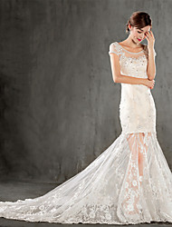 Trumpet/Mermaid Wedding Dress - Champagne Chapel Train Scoop Lace