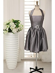 Knee-length Taffeta Bridesmaid Dress - A-line Halter with Sash / Ribbon
