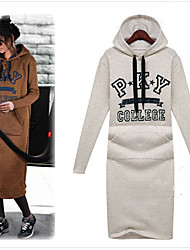 MMYD Women's Letter Gray Dresses , Sexy / Casual / Cute / Party / Work Hoodie Long Sleeve plus size