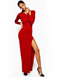 Women's Solid Red / Black Dress , Sexy Asymmetrical Long Sleeve