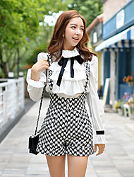 Pink Doll® Women's Casual Party Slim Straps Check Black Shorts Pants