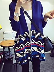 Women's Geometric/Color Block Blue/Red Cardigan , Vintage Long Sleeve