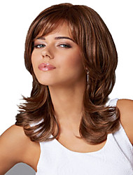 Capless Long Brown  Synthetic Wig Side Bang