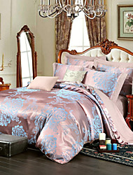 Royal Retro Style Blue Jacquard Bedding Set 4-Piece