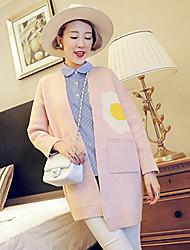 YUYI Women's Print Pink / Black Coats & Jackets , Casual Stand Long Sleeve