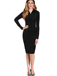 Women's Work Bodycon Dress,Solid Shirt Collar Knee-length Long Sleeve Red / Black Polyester / Spandex Fall