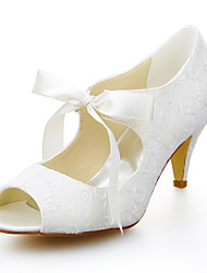 Women's Summer Peep Toe Stretch Satin Wedding / Dress Cone Heel Ribbon Tie Ivory