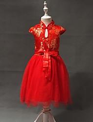 Vestido Chica de - Todas las Temporadas - Mezcla de Algodón - Rojo