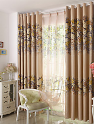 Two Panels Floral Blackout Curtain Flower Pattern Curtains