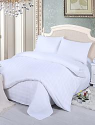 raya blanca de 4 piezas juego de cama de satén de lujo