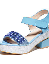 Wool Low Heel Sandals Blue