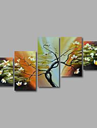 Ручная роспись Абстракция / Абстрактные пейзажиModern 5 панелей Холст Hang-роспись маслом For Украшение дома
