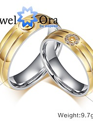 New Noble CZ Stone18K Gold Plated Titanium Steel  Wedding Gold Ring Couples For Women&Man