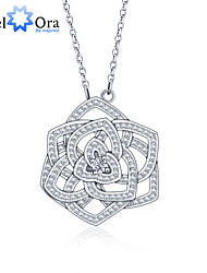 "New Accessories 925 Sterling Silver ""Flower""Women Cubic Zirconia Necklaces & Pendants"