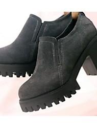 Calçados Femininos - Saltos - Saltos - Salto Grosso - Preto / Cinza - Camursa - Casual