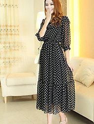 Women's Polka Dot Black Dress , Casual Round Neck ¾ Sleeve