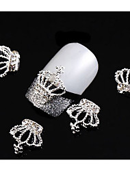 10Pcs/Lot Hollow Out Silver Crown 3D Nail Art Decorations Rhinestone For Nails Alloy DIY Glitters Nail Tools