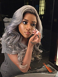 """18""""-24"""" Brazilian Human Ombre Human Lace Front Wig Black Grey Lace Front Wig  Gray Human Hair Lace Wigs Full Lace Wig"""