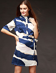 TS Casual/Work Inelastic Short Sleeve Above Knee Dress (Satin)