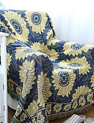 Couverture - 180*130 - en 100% Coton - Bleu / Jaune