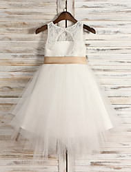 A-line Tea-length Flower Girl Dress Jewel with