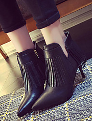 Women's Shoes Tassels Classic Stiletto Heel Comfort / Pointed Toe Boots Dress / Casual Black / Gray