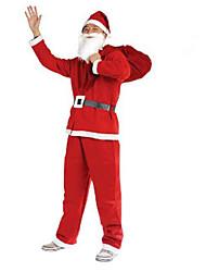 Christmas Male Fairytale Costumes Cosplay Santa Suits Top / Pants / Belt / Hats / Beard (5 PCS)