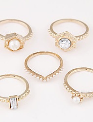 Anéis Mulheres Imitação de Pérola Liga Liga 8 Dourado / Preto / Prata