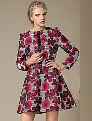 TS Women's Simplicity OL Style Print  Flower Long Sleeve Swing Above Knee Dress (Others)