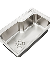 ENZORODI 25*16*8 inch Kitchen Sink Vessel Single Bowl Top Mount 304 Stainless Steel,With Dispenser and Drain ERK116503E