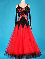 Devemos vestidos de dança de salão Mulher cristais / strass Vestido de 1 peça