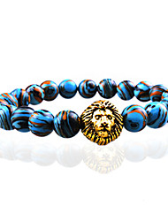 Men Fashion Bracelet Pulseras Mujer Black Lava Stone Lion Beads Bracelet